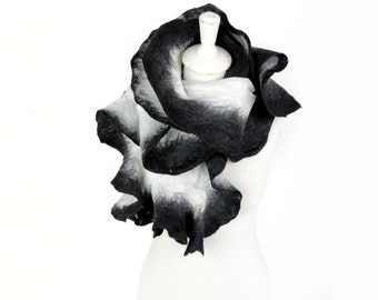 silk scarf, unique black and white scarf, monochrome scarf, silk and felt scarf, stylish silk scarf, bohemian style scarf, layered look