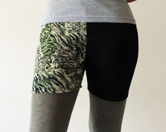 Green Animal print and black lycra shorts  -  Size Medium - Kezbirdie