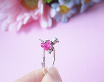 Little Bird and Flower on Tree Branch Ring - Rhodium plated brass, Glass Flower