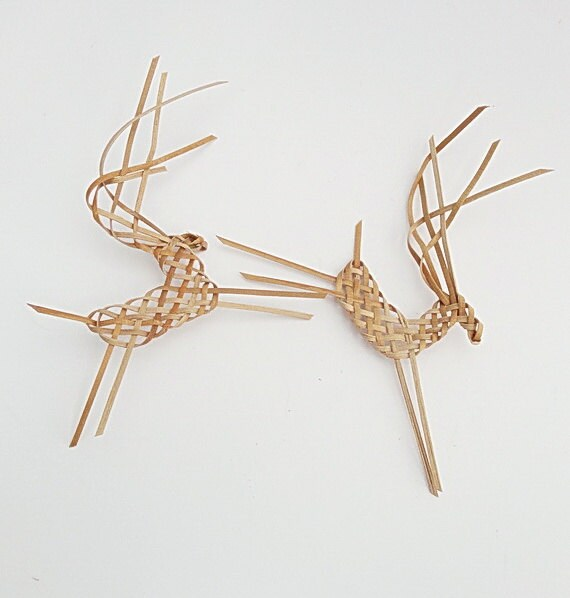 LAST SET: Up On the Housetop, Handwoven  Tiny Bounding Reindeer Ornaments