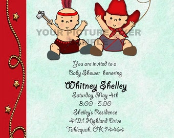 Baby Shower Invitation-TWINS Cowboy and Indian - Birth Announcement