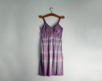 vintage 70s Festival Slip Dress Upcycled Hand Dyed Sunset Sky Purple & Blue Tie Dye