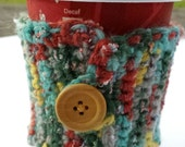 Multicolored Coffee Cozy with Wooden Button