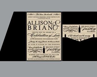 Rustic Wedding Invitations - Vintage Antique Edwardian Victorian Vineyard Rustic Wine Bottle Rustic Wedding Pocket Invitation