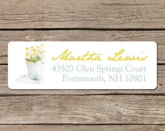Return Address Labels - Self Adhesive Stickers - Yellow Flower Pot