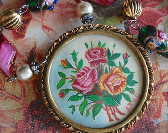A Scottish Bouquet-Antique Miniature Still Life Roses Oil Painting Assemblage Necklace
