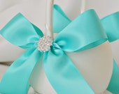 Ivory and Aqua Blue Wedding Flower Girl Basket with Rhinestone Accents