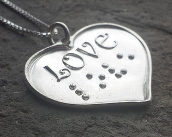 LOVE heart pendant in Braille Pure silver Jewelry in Braille