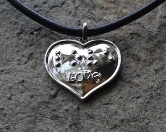 LOVE Braille Heart in Silver plated Jewelry in Braille