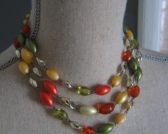 Vintage Three Strand Light Moss Green Yellow and Orange Beaded 1950's Necklace