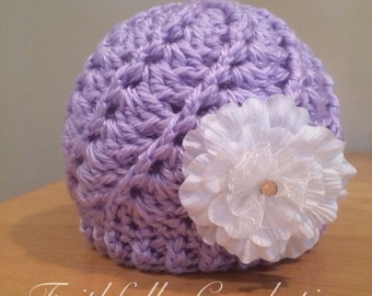 Newborn girl hat... Lavender... Flower hair clip.. Photography prop.. Ready to ship