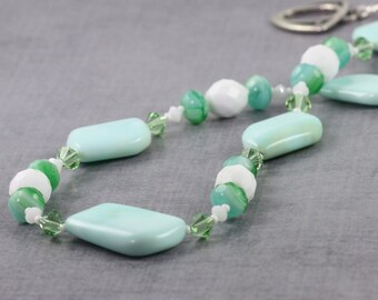 Larimar Necklace Green Ocean Blue Crystal White Calypso Jewelry Summer Beach Fashion