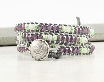 Purple Wrap Bracelet Skinny Wrap Bracelet Gray Leather Bohemian Bracelet Boho Jewelry Green White 3x Bohemian Jewelry Leather Wrap Bracelet