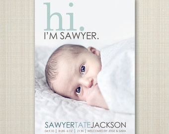 BIRTH ANNOUNCEMENT,  hi baby announcement hello baby baby boy announcement baby girl newborn printable digital announcement modern
