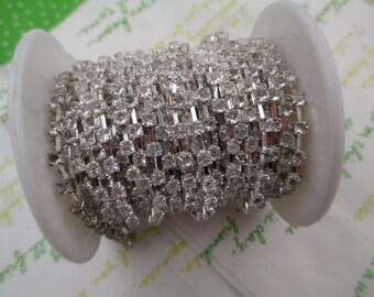 Clear rhinestone chain ( silver tone ) 3mm stone 50cm