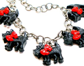 Scottie Dog button necklace, Black dogs with red bows on silver chain
