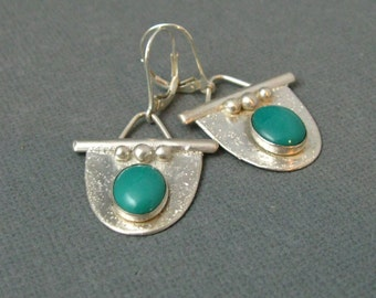 Sterling Silver Handmade Turquoise Drop Earrings, Artisan Handcrafted Sterling Silver Earrings by Liz Blanchflower