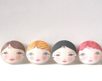 Fabric Covered Buttons, Face Buttons, Unusual Sewing Buttons, Craft Supply, Doll Buttons, Large Buttons, 29mm Buttons