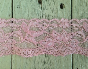 Wide Stretch  Lace PINK n0.399  -2  inch -2 yards for 2.99