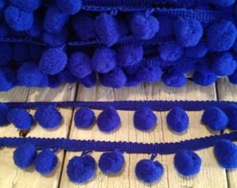 Pom Pom Trim ROYAL BLUE-2 yards-1/2 inch Ball