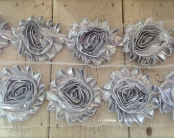 "New-SILVER SHABBY ROSE Trim-2.5"" 1 yard piece"