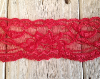 WIDE Stretch Lace RED-no. 399-2 inch -2 yards for 2.99