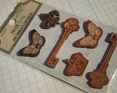 Bo Bunny Kraft Wood Shapes Stickers - Butterflies Keys - Scrapbook Embellishments