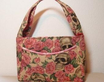 Pink Roses and Skulls Purse - Medium Cotton Handbag