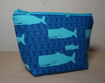 Turquoise Whales - Zipper Cosmetic Pouch