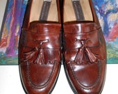 JOHNSTON & MURPHY Chestnut Brown Dress Loafers Tassle Men Shoes Retro Collectors ITALY Hand Crafted 12 M