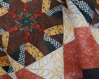 Table Runner Kaleidoscope Star Blocks Quilted One of a Kind Free Shipping