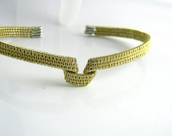 Knitted Look Hand Woven 14kt gold fill & Sterling Silver Large Size Bracelet