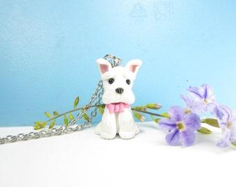 White Schnauzer Necklace - dog jewelry , dog necklace Schnauzer collectible