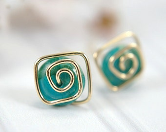Turquoise post earrings spiral 14k gold filled blue green gemstone