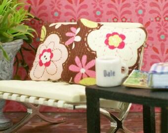 Pink Pillows Cats Flowers Brown Kitties 1:12 Dollhouse Miniatures Artisan