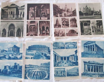 "ANCIENT ARCHITECTURE-- Eastern architecture, ancient Greece & Rome--  antique prints from ""Book of Knowledge"" 1912 (8 pages)"