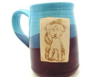 Handmade Pottery Mug blue and skuy blue