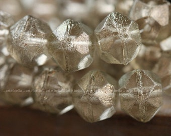 CHARDONNAY FROST ..10 Picasso Czech Glass Antique Cut Beads 10x9mm (4007-10)
