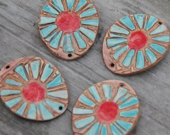 Pottery Cuff Bead, The Elli with a Flower Design in Aqua and Red