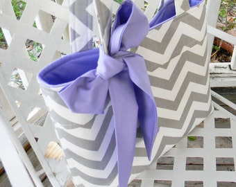 Gray Chevron and Lavender Tote Bag, Every Day Bag, Diaper Bag with a Sash Bow