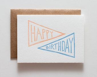 Birthday Pennant Poppy - Letterpress Birthday Card - CB111