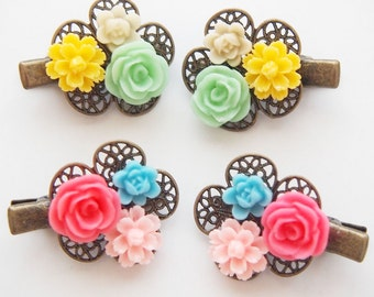 Mini Floral Cluster Hair Clips -  Cute Fun Bright Sweet Blue Pink Yellow Green