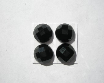 Natural Black Onyx Faceted Gemstone Cabochons - 10mm - 4