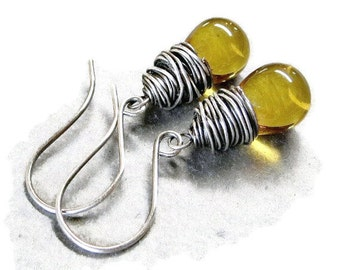 Amber Glass Earrings,  Wire Wrapped Sterling Silver Earrings, Autumn Jewelry Gifts for Her