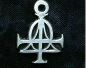 Early Christian Alpha - Omega Cross Ankh Pendant in Pewter - trimmed design