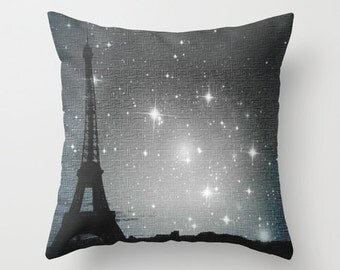 "Throw pillow, ""Starry Night in Paris. Eiffel Tower"" Decorative Photo Pillow, Cushion, Various Sizes, dorm, office, nature, stars, night sky"