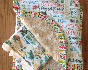 On Sale...Post Cards Minky Blanket and Burp Cloth Set...READY TO SHIP