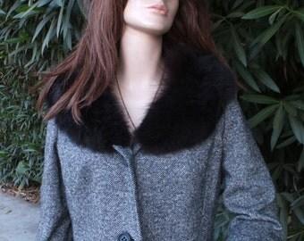 Vintage Tweed Cropped Jacket,  1960s Joseph Magnin Cropped Tweed Jacket w/Fur Collar, Bracelet Sleeve, Short Jacket, Large
