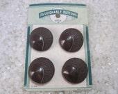 vintage buttons on original card, coat buttons, a brown color