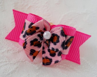 "DOG BOW- 5/8"" Pink Leopard Pressie Dog Bow"